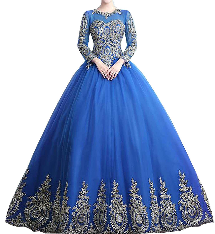 PromQueen Women's Beaded Ball Gown Sweet 16 Dresses Princess Quinceanera Dresses