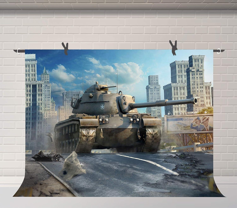 FUERMOR Tank World Background Brave Boys Portrait Photo Backdrop Photography Props 7x5ft LHFU692