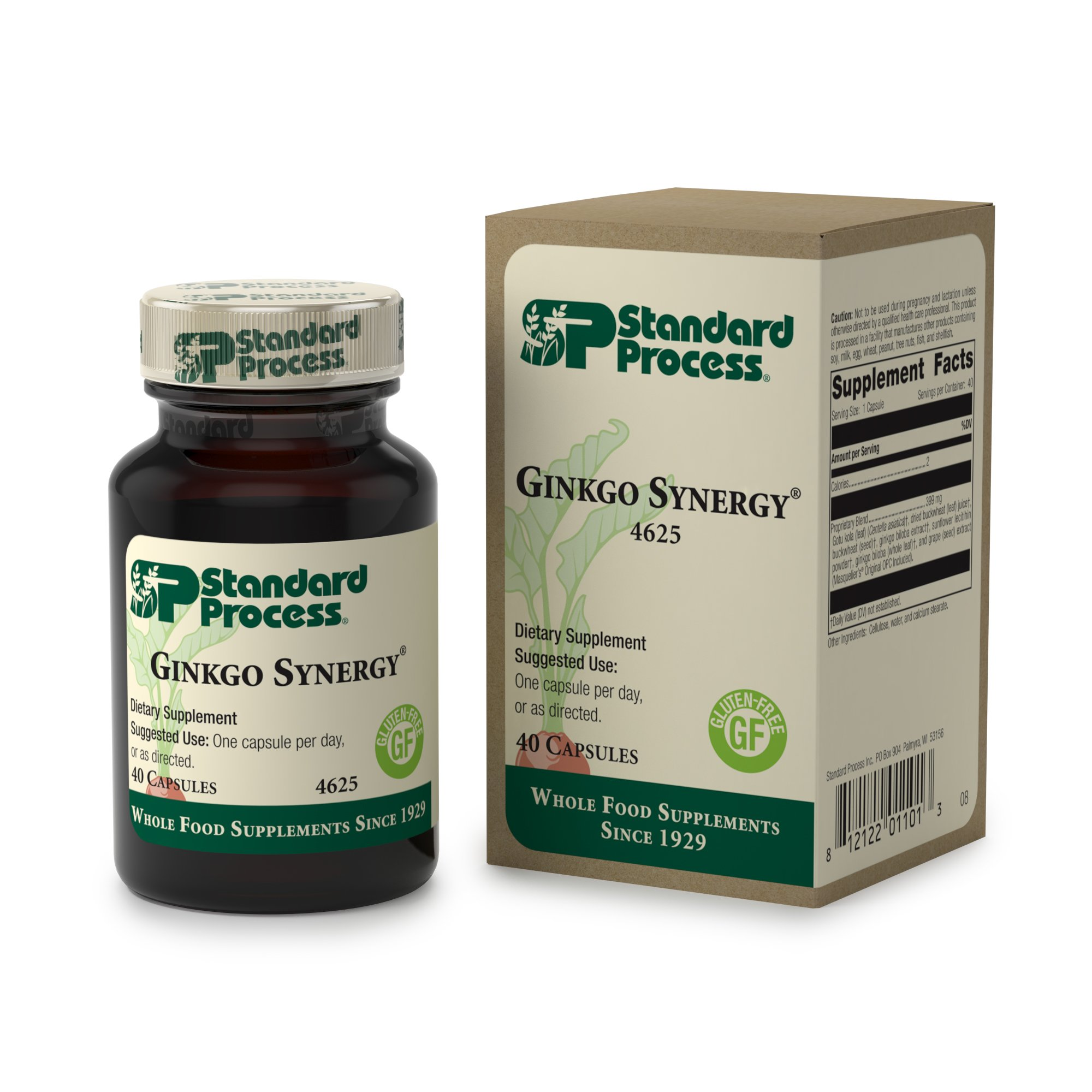 Standard Process - Ginkgo Synergy - Ginkgo Biloba Supplement, Supports Healthy Brain Function and Cognition, Promotes Antioxidant Activity, Gluten Free and - 40 Capsules