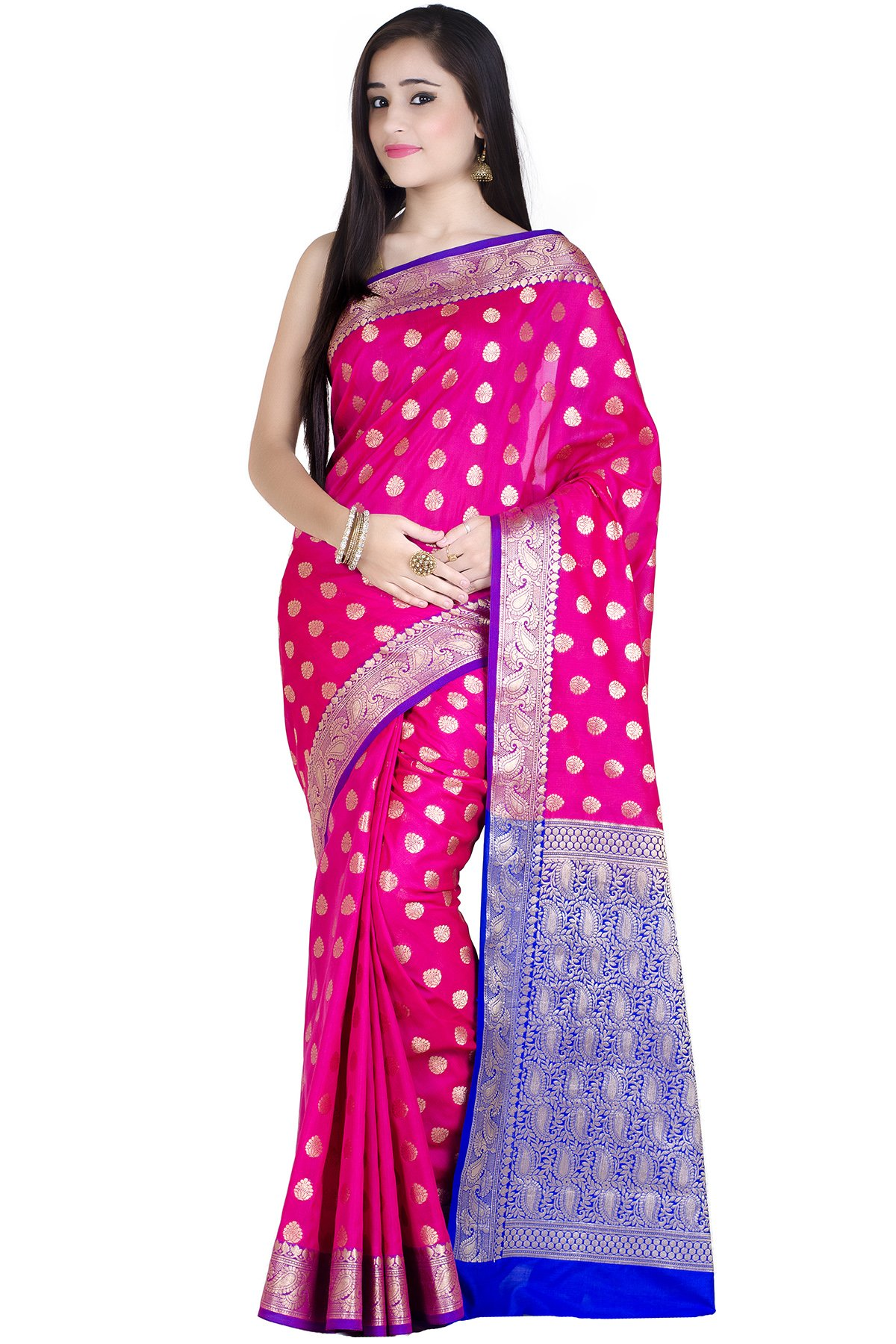 Chandrakala Women's Pink Kataan Silk Banarasi Saree(1234PIN)