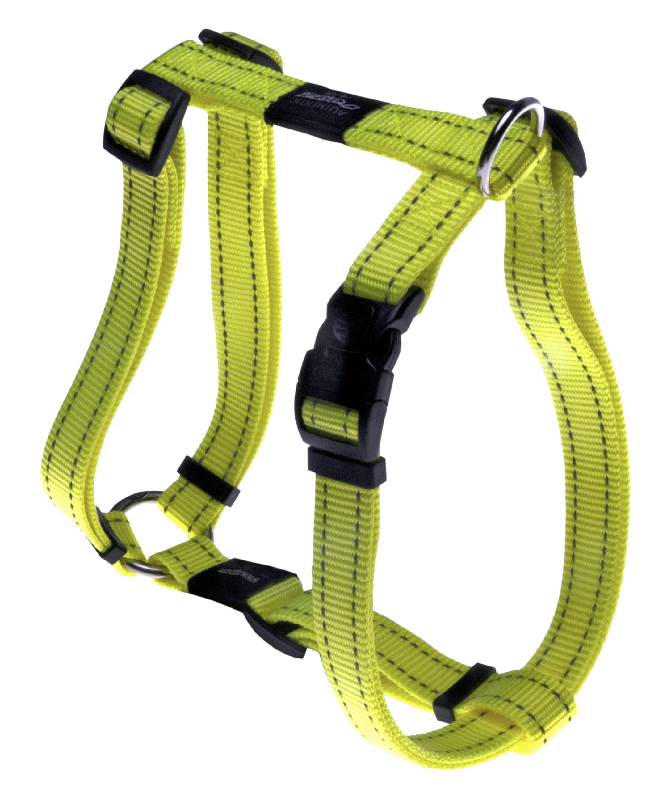 ROGZ Reflective Adjustable Dog H Harness for Extra Large Dogs; matching collar and leash available, Yellow