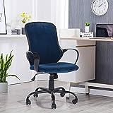 FurnitureR Silla ergonómica de escritorio de oficina Silla giratoria ajustable de terciopelo Silla de trabajo Asiento y repos