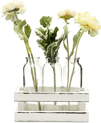 Funsoba Small Glass Vases in Wood Rack Stand Window-Sill Display Set of 3 Crystal Clear Flower Vase Farmhouse Home Decoration White 3 Vase