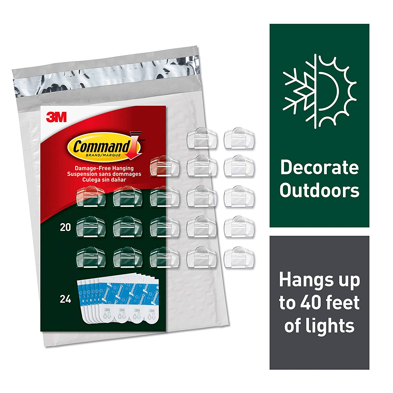 Command Outdoor Light Clips, 20 Clips, 24 Strips (AW017-20NA) - Easy to Open Packaging