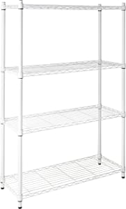 Honey-Can-Do SHF-01907 Adjustable Storage Shelving Unit, 250-Pounds Per Shelf, White, 4-Tier, 36Lx14Wx54H