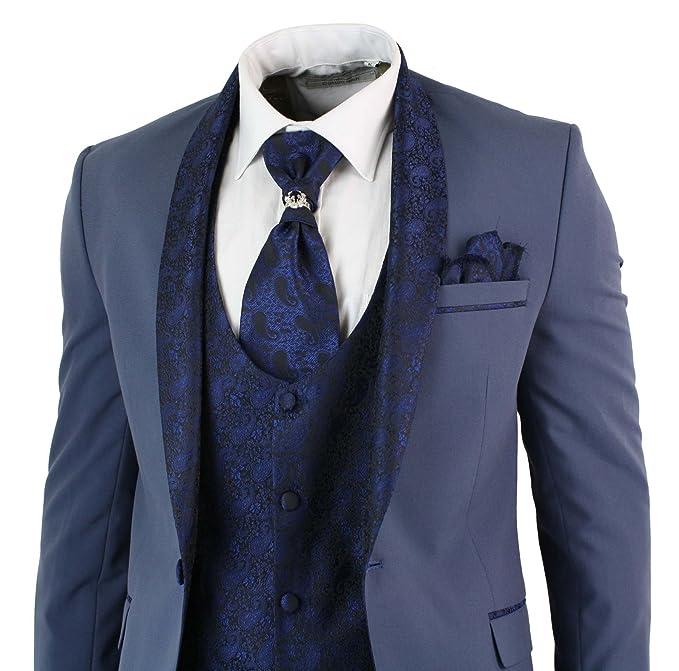 Abito 5 Pezzi da Uomo Smoking Elegante Blu con Colletto Sciallato blu 36UK 86e44d51cda