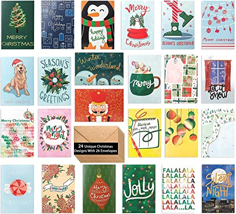 24 Watercolor Christmas Cards Assorted Holiday Greeting Cards In 24 Unique Watercolor Designs Christmas Greeting Card Include 24 Kraft Envelopes