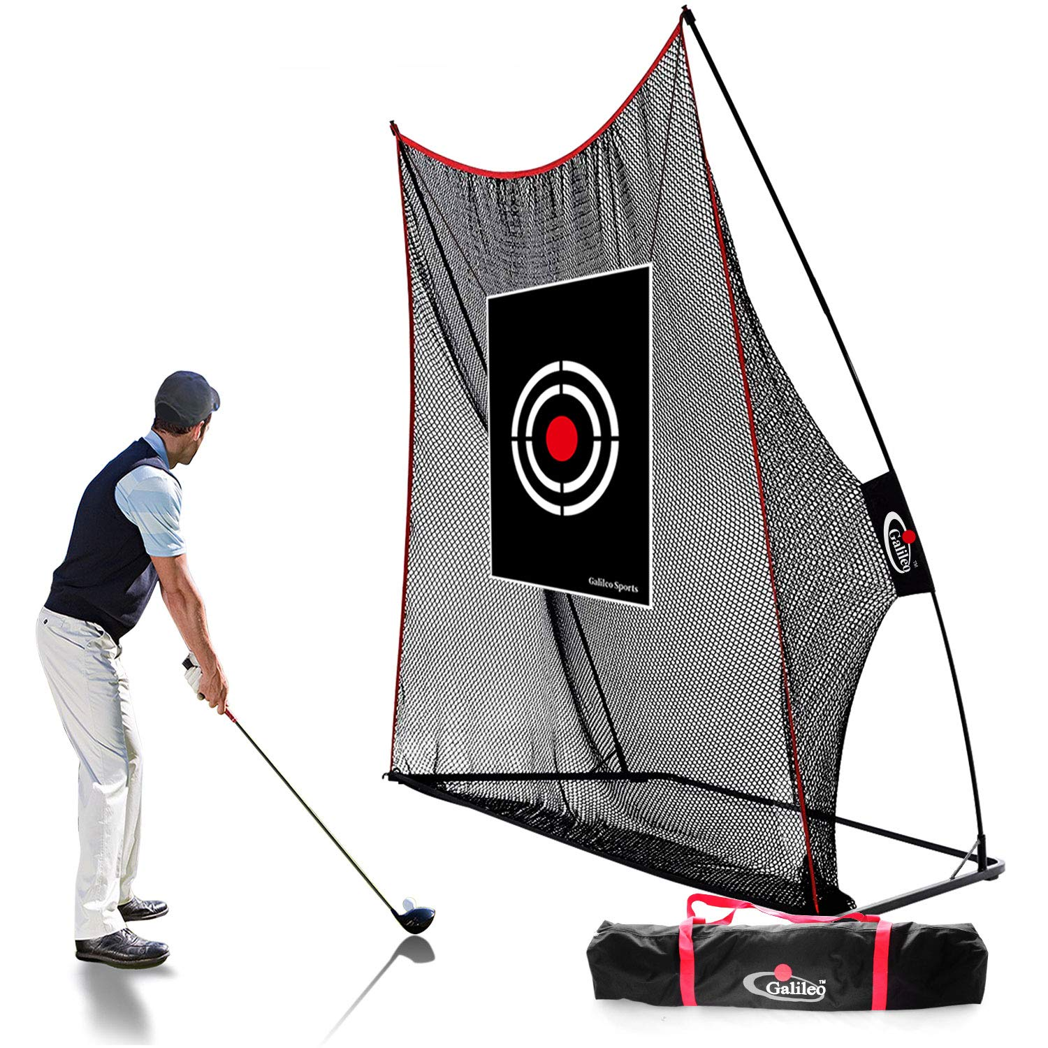 GALILEO Golf Practice Net Golf Hitting Nets Driving Range Indoor&Outdoor Golf Training Aids with Target&Carry Bag 10'(H) x 8'(W) by GALILEO