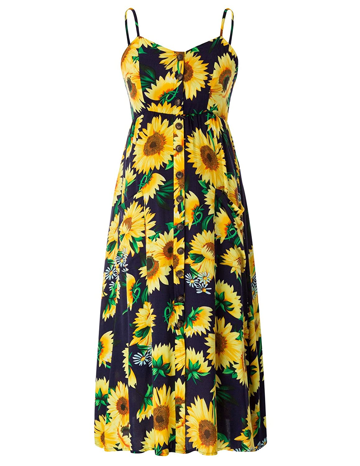 Maacie Women Floral Spaghetti Strap Button Maternity Midi Dress with Pockets