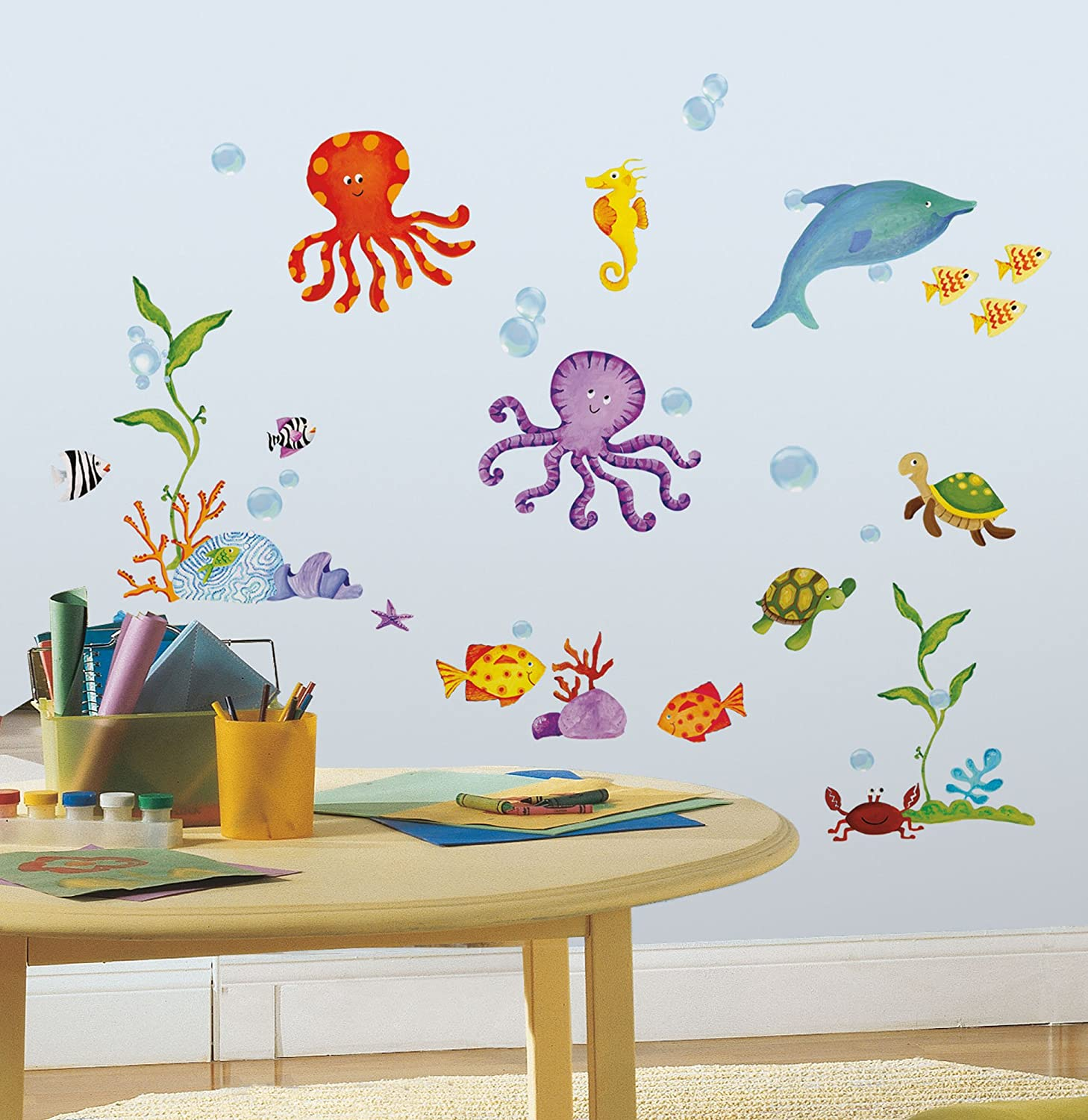 Amazon.com: RoomMates RMK1851SCS Adventures Under The Sea Peel And Stick Wall  Decals: Home Improvement Part 4