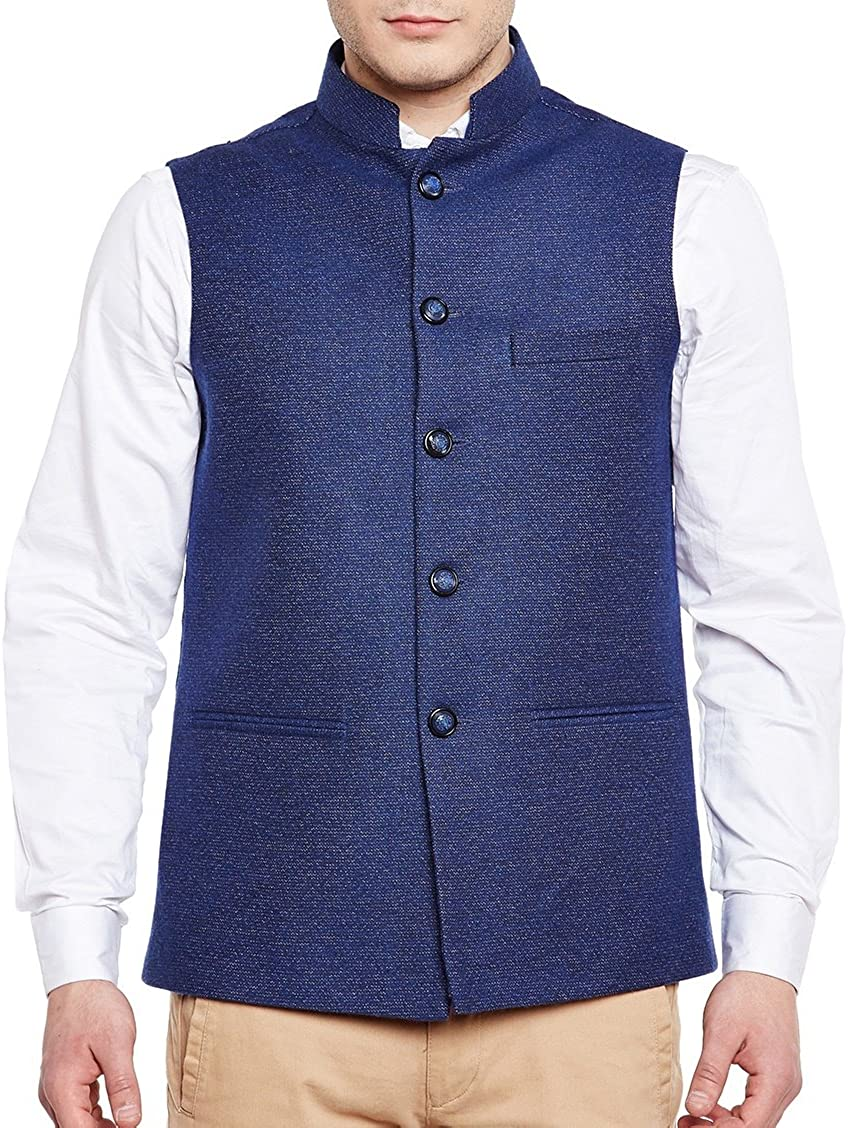 WINTAGE Men's Tweed Bandhgala Festive Nehru Jacket Waistcoat -7 Colors