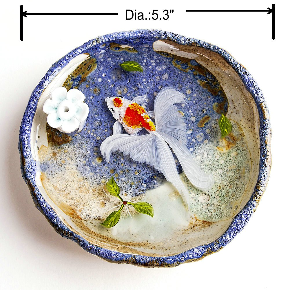 Artcer Ceramic Handmade Lotus Incense Holder Golden Fish Painting Ash Catcher Plate,White-Blue by Artcer (Image #2)