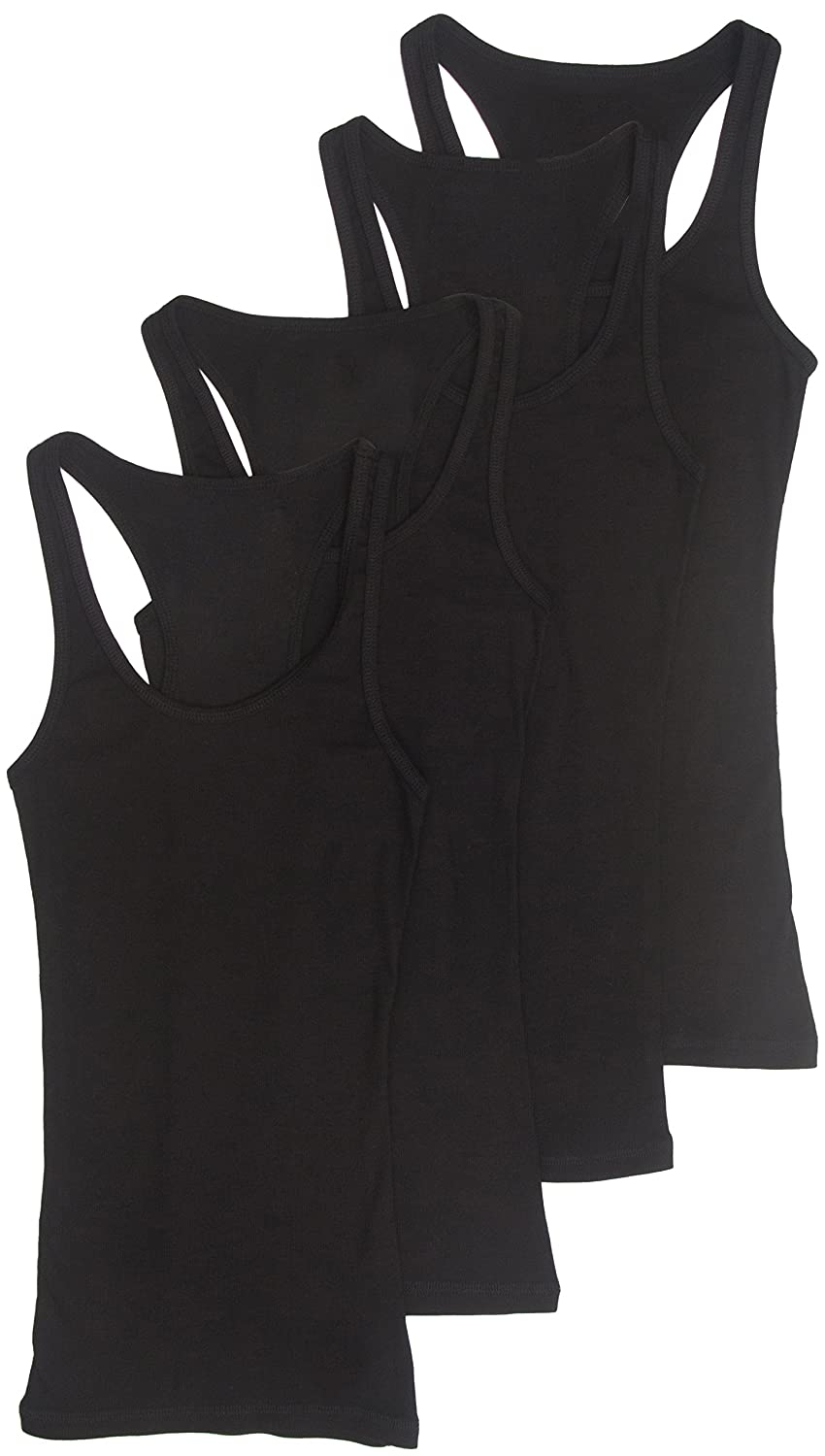 Zenana Outfitters 4 Pack Womens Basic Ribbed Racerback Tank Top