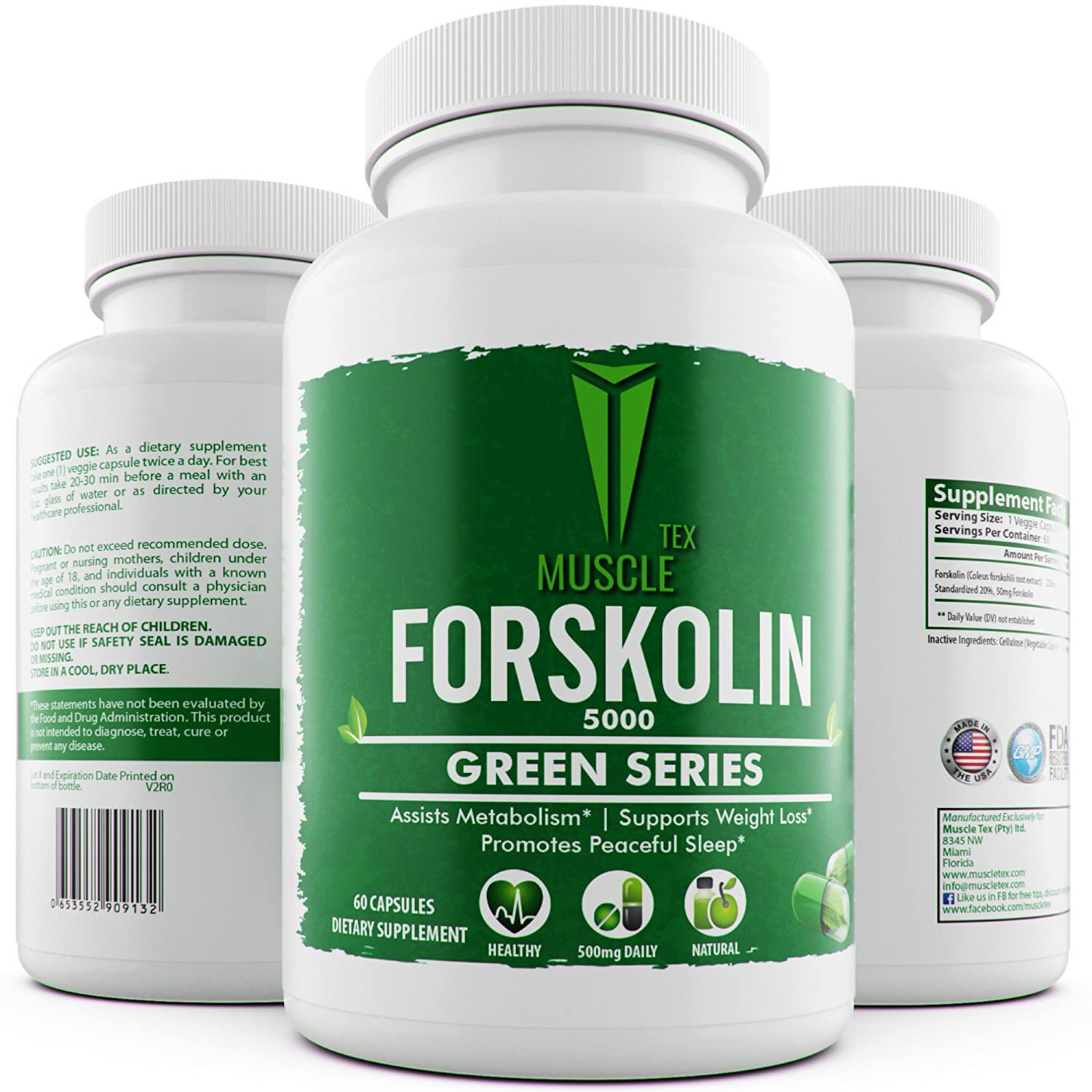 __MUSCLE TEX FORSKOLIN 5000__ – PURE Active Forskolin For Weight Loss – 500mg DAILY -250 Per Cap – Forskolin Extract – Carb Blocker - Green Series - Natural Weight Loss