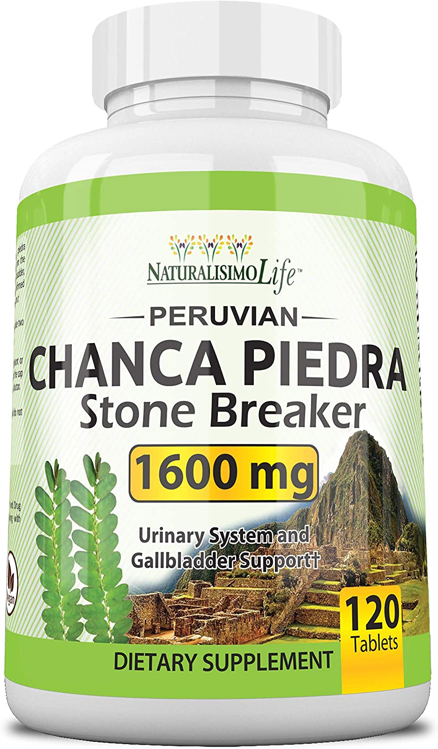 Chanca Piedra 1600 mg - 120 Tablets Kidney Stone Crusher Gallbladder Support Peruvian Chanca Piedra Made in The USA: Health & Personal Care