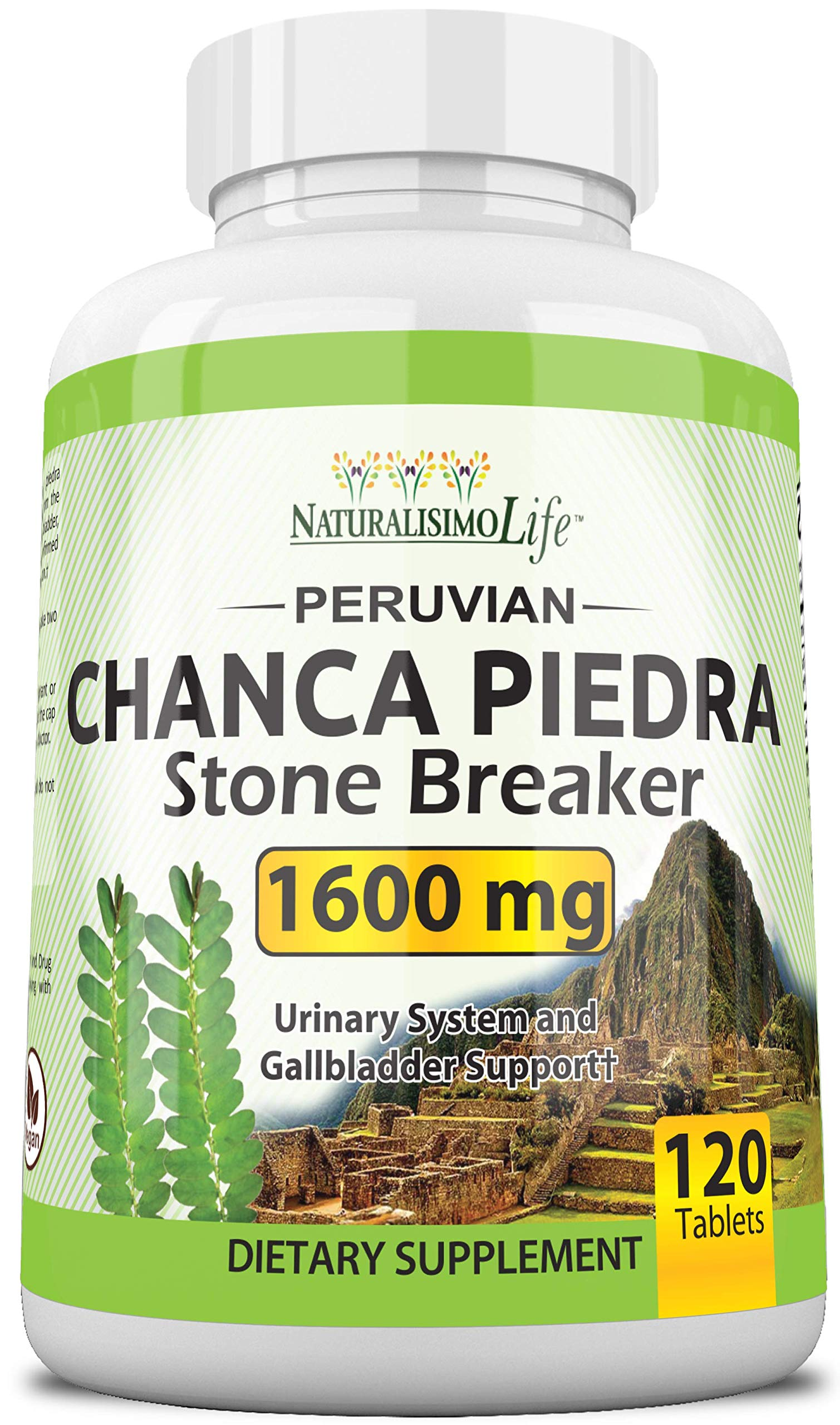 Chanca Piedra 1600 mg - 120 Tablets Kidney Stone Crusher Gallbladder Support Peruvian Chanca Piedra Made in The USA
