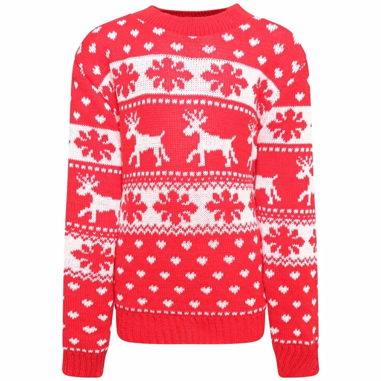 KIDS BOYS GIRLS XMAS CHRISTMAS NOVELTY REINDEER RUDOLPH POM POM FESTIVE JUMPER