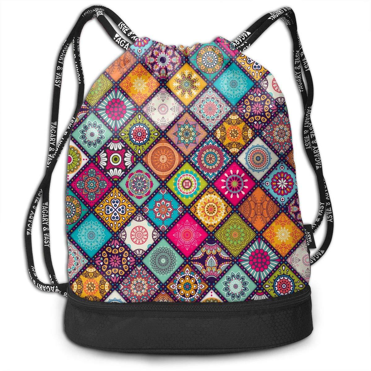 6e8c28582fd Amazon.com: Mandala Drawstring Bag Rucksack Shoulder Bags Travel Sport Gym  Bag Print - Yoga Runner Daypack Shoe Bags with Zipper and Pockets: Sports &  ...