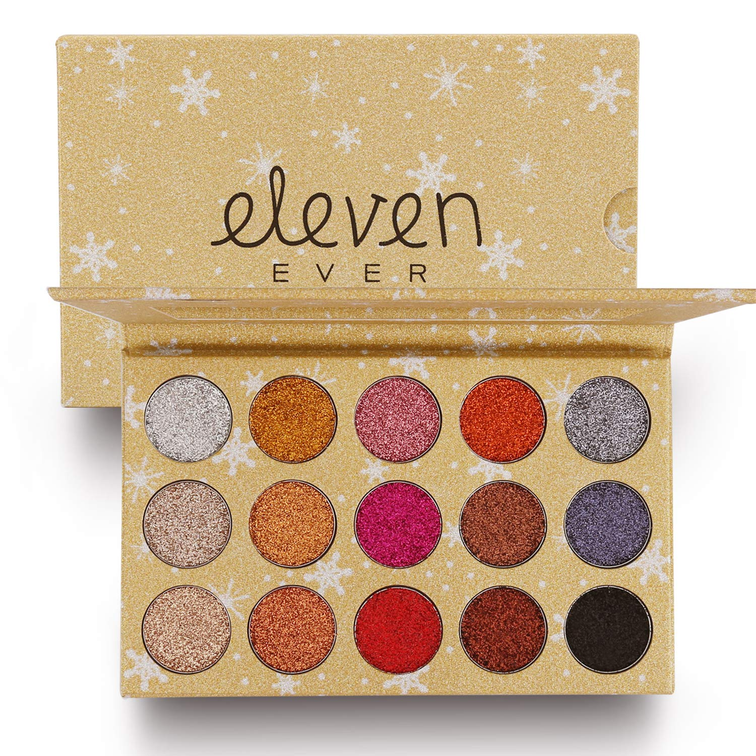 ELEVEN EVER 15 Colors Glitter Eyeshadow Palette, Professional Highly Pigmented and Long-Lasting Mineral Shimmer Makeup Pallet (Gold)
