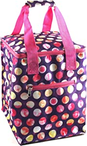 Pink Tie-Dye Polka Dot Insulated Picnic Lunch Tote by Home Essentials
