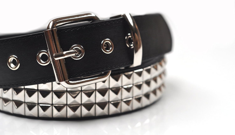 Pyramid Studded UK Belt Polyurethane Leather 40mm Press Stud Removable Buckle