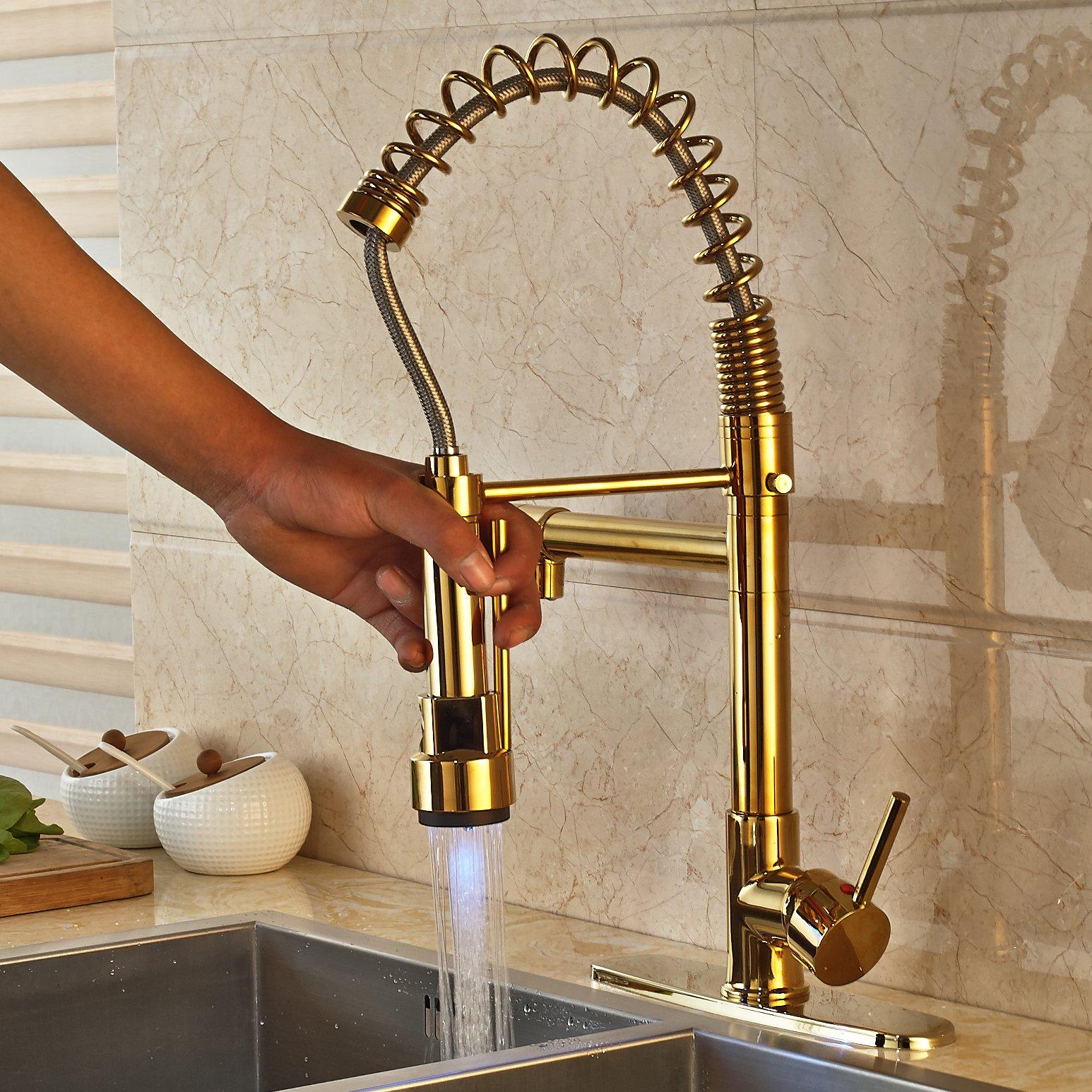 Kitchen Sink Faucet Mixer Tap Single Hole Swivel Spout Deck Plate ...
