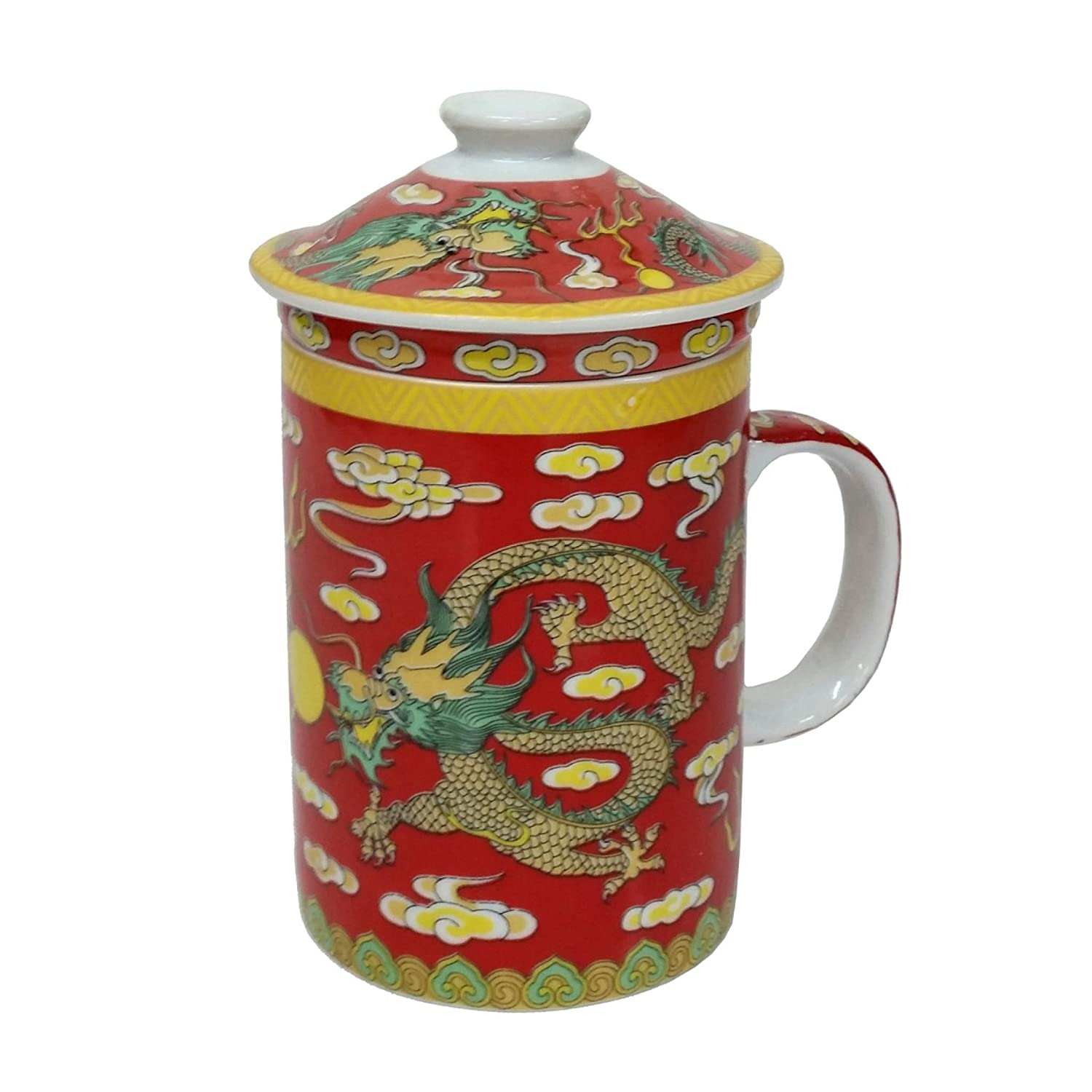 FSH263G Feng Shui Chinese Porcelain Mug Tea Cup with Lid: Dragon Red