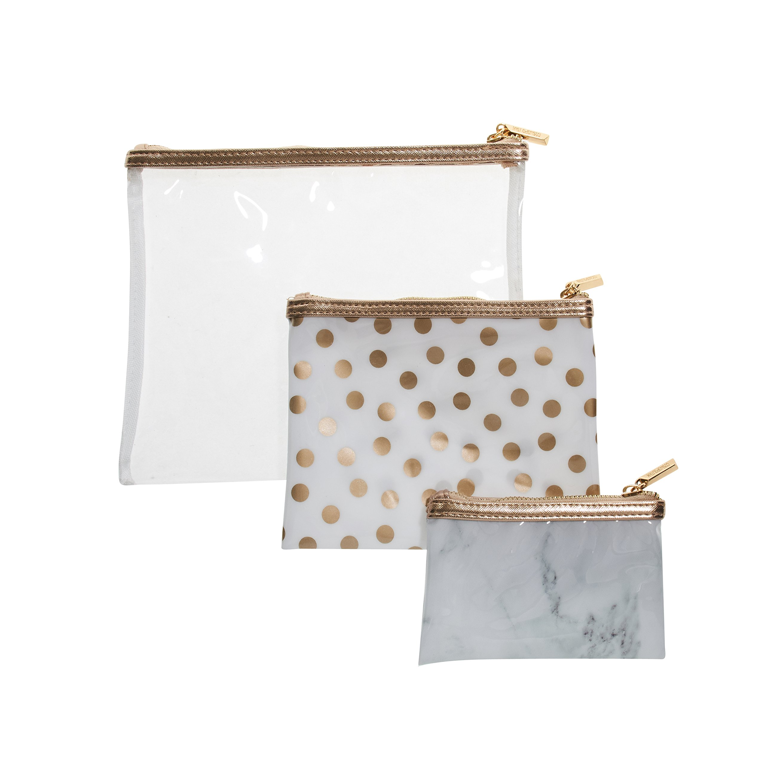 Cosmopolitan 3 Piece Cosmetic Bag Set, Portable Travel Toiletry Pouch Makeup Clutch Bag for Women (Clear Gold)
