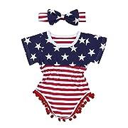 4th of July Toddler Baby Girl Romper American Flag Stars Stripes Pompom Tassel Balls + Headband(3-6 Months)
