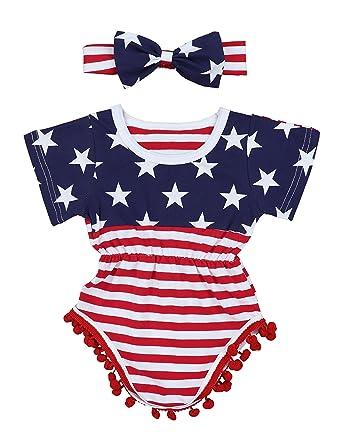 be4f4c588 4th of July Toddler Baby Girl Romper American Flag Stars Stripes Pompom  Tassel Balls + Headband