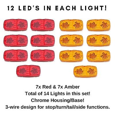 14x Trailer Marker LED Light Double Bullseye Amber/Red 12LED Clearance Side Marker Light Bulls Tiger Eye Amber Trailer with Chrome Base: Automotive