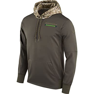 c2c384ac9604 Nike - Men s Seattle Seahawks Olive Salute to Service Sideline Therma Pullover  Hoodie - Size L