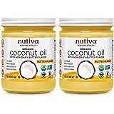 Nutiva Organic Coconut Oil with Non-Dairy Butter Flavor, 14 Ounce (Pack of 2)   USDA Organic, Non-GMO   Vegan & Gluten…