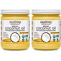 Nutiva Organic Coconut Oil with Non-Dairy Butter Flavor, 14 Ounce (Pack of 2) | USDA Organic, Non-GMO | Vegan & Gluten…