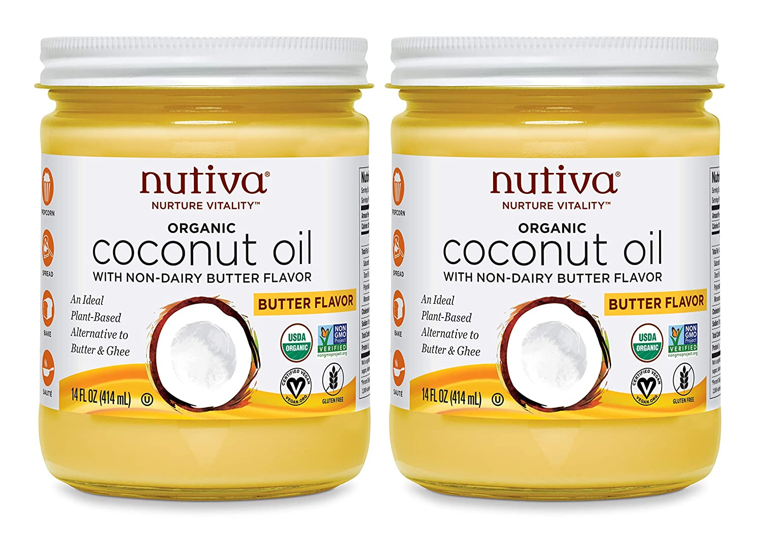 Nutiva Organic Coconut Oil with Non-Dairy Butter Flavor, 14 Ounce (Pack of 2) | USDA Organic, Non-GMO | Vegan & Gluten-Free | Plant-Based Superfood Replacement for Butter
