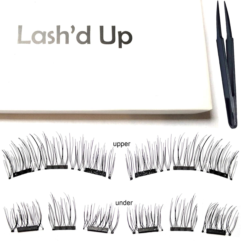 a1dfbc77f05 Amazon.com : Lash'd Up Magnetic Eyelashes Full Eyes Natural Look Grade A+  Silk [No Glue] Child Cancer Partner 3 Magnets Reusable False Lashes   Just  Natural ...