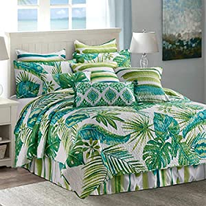 Virah Bella Tropical Leaves Contemporary Bedding Set - King Quilt and King Shams with Large Plant Print