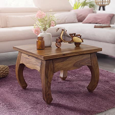 Finebuy Coffee Table Solid Wood Sheesham 60 Cm Wide Style Dark Brown Country  Style Side