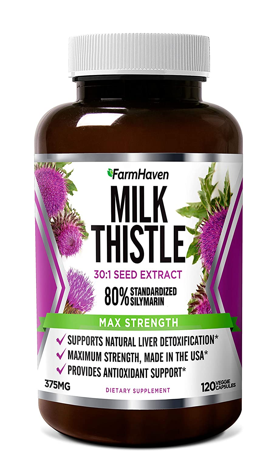 FarmHaven Milk Thistle Capsules | 11250mg Strength | 30X Concentrated Seed Extract & 80% Silymarin Standardized - Supports Liver Function and Overall Health | Non-GMO | 120 Veggie Capsules