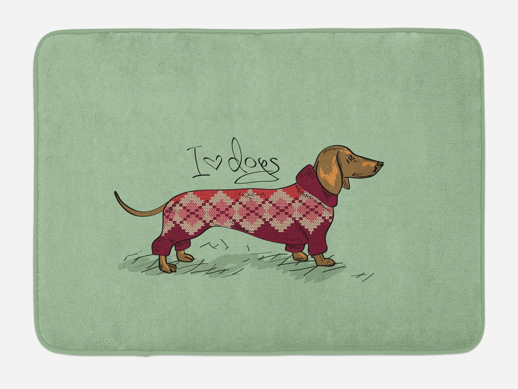 Ambesonne Dachshund Bath Mat, Cute Dog in Knitted Sweater Design Detailed Colorful Cartoon Style Animal Pattern, Plush Bathroom Decor Mat with Non Slip Backing, 29.5 W X 17.5 W Inches, Multicolor