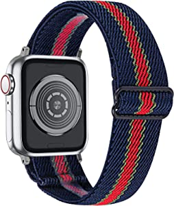 MEFEO Adjustable Elastic Bands Compatible with Apple Watch bands 38mm 40mm 42mm 44mm, Soft Stretch Bracelet Replacement for iWatch Series 6/5/4/3/2/1&SE Women Girls (Blue and Red Small Stripe, 42mm/44mm)
