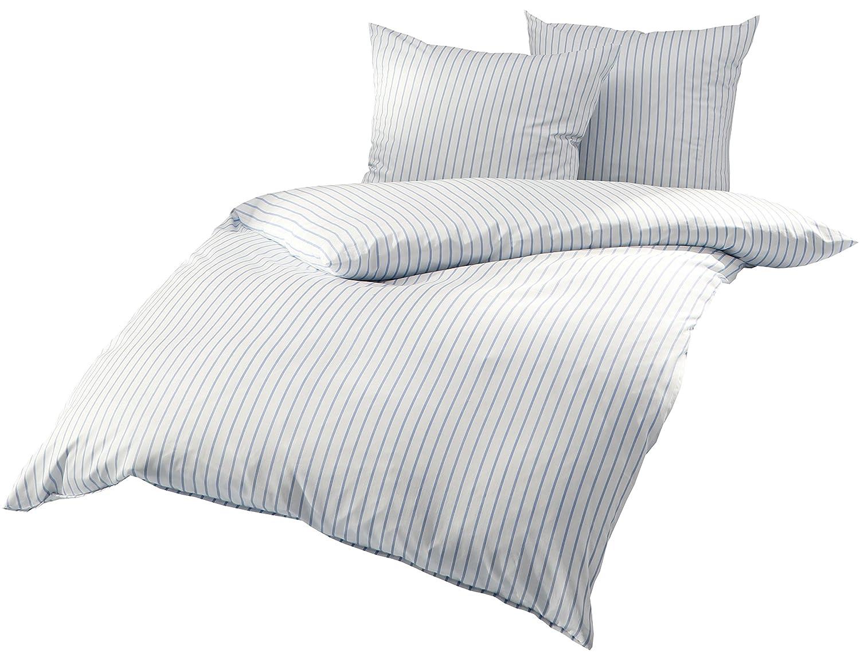 Mako Satin Bettwäsche Blau Weiß Gestreift 200x220 + 2 x 80x80 cm, 100% Baumwolle mit Reißverschluss