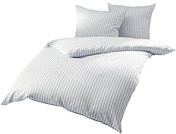 Mako Satin Bettwäsche Blau Weiß Gestreift 200x200 2x 80x80 Cm 100 Baumwolle Mit Reißverschluss