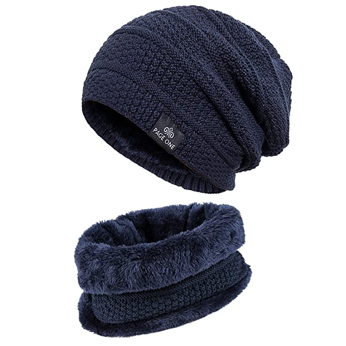 b91c31927ba4 PAGE ONE Mens Winter Warm Knit Hat Scarf Set Soft Fleece Lined Stretch  Slouchy Skully Striped