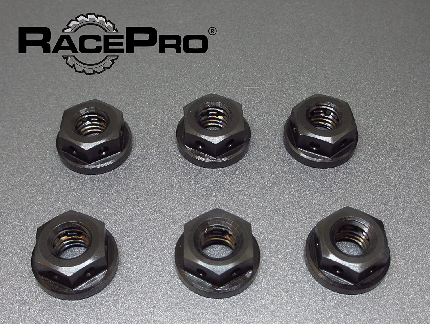 Drilled 6x Black Titanium Sprocket Nuts M10 x 1.25