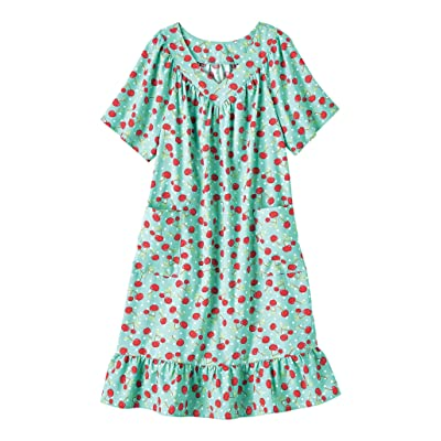 AmeriMark Casual Print Sun Dress House Dress Lounger Short Sleeves with Pockets at Women's Clothing store