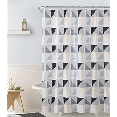Twirl 13-Piece PEVA Shower Curtain With Hooks, Versatile Usage, Adds A Modern Touch To Your Space, Eco-Friendly Shower Curtain, Mildew Resistant, 72x72 Inches (Yellow-Grey)
