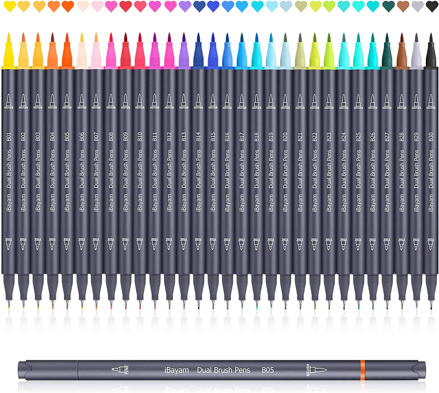 iBayam Dual Brush Pens 30 Vibrant-Color Brush Tip & Fineliner Art Marker Colored Pens for Journaling Note Taking Planner Calligraphy Drawing Office School Supplies, Coloring Markers for Adult Coloring