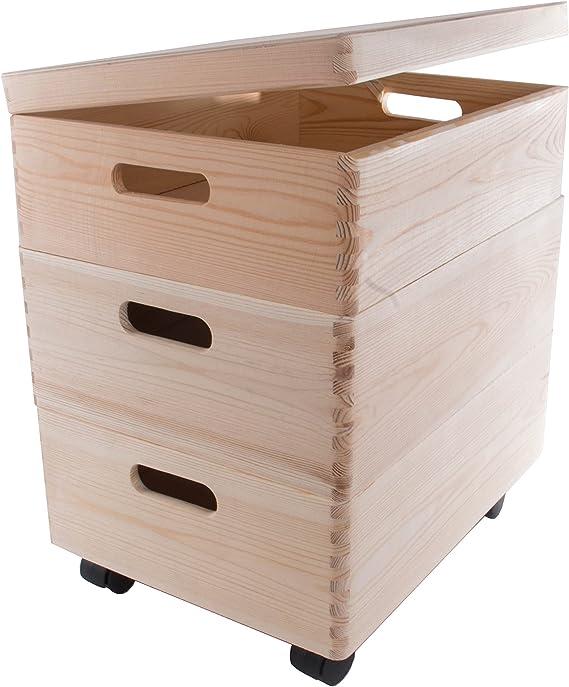 Set de Tres tamaño Mediano apilables Cajas con Ruedas en el Pecho de Almacenamiento de Madera/Juguetes/baúl: Amazon.es: Hogar