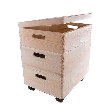 Set de Tres tamaño Mediano apilables Cajas con Ruedas en el Pecho de Almacenamiento de Madera